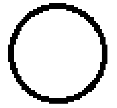 Pixelated cirkel - datorgrafik inzoomad.