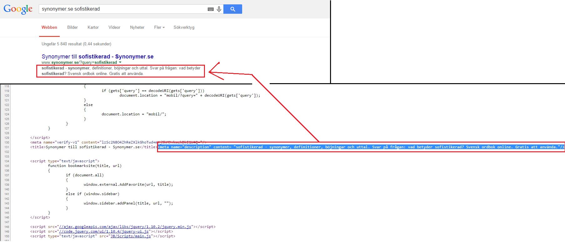 Meta-description visad både i kod såväl som resultat i sökmotor