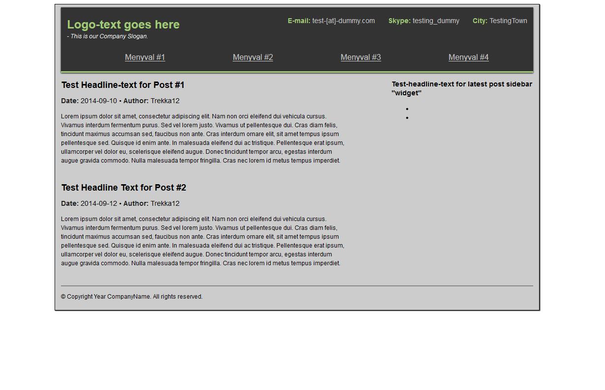 Förhandsgranskning av första sida Med* CSS-Stilar