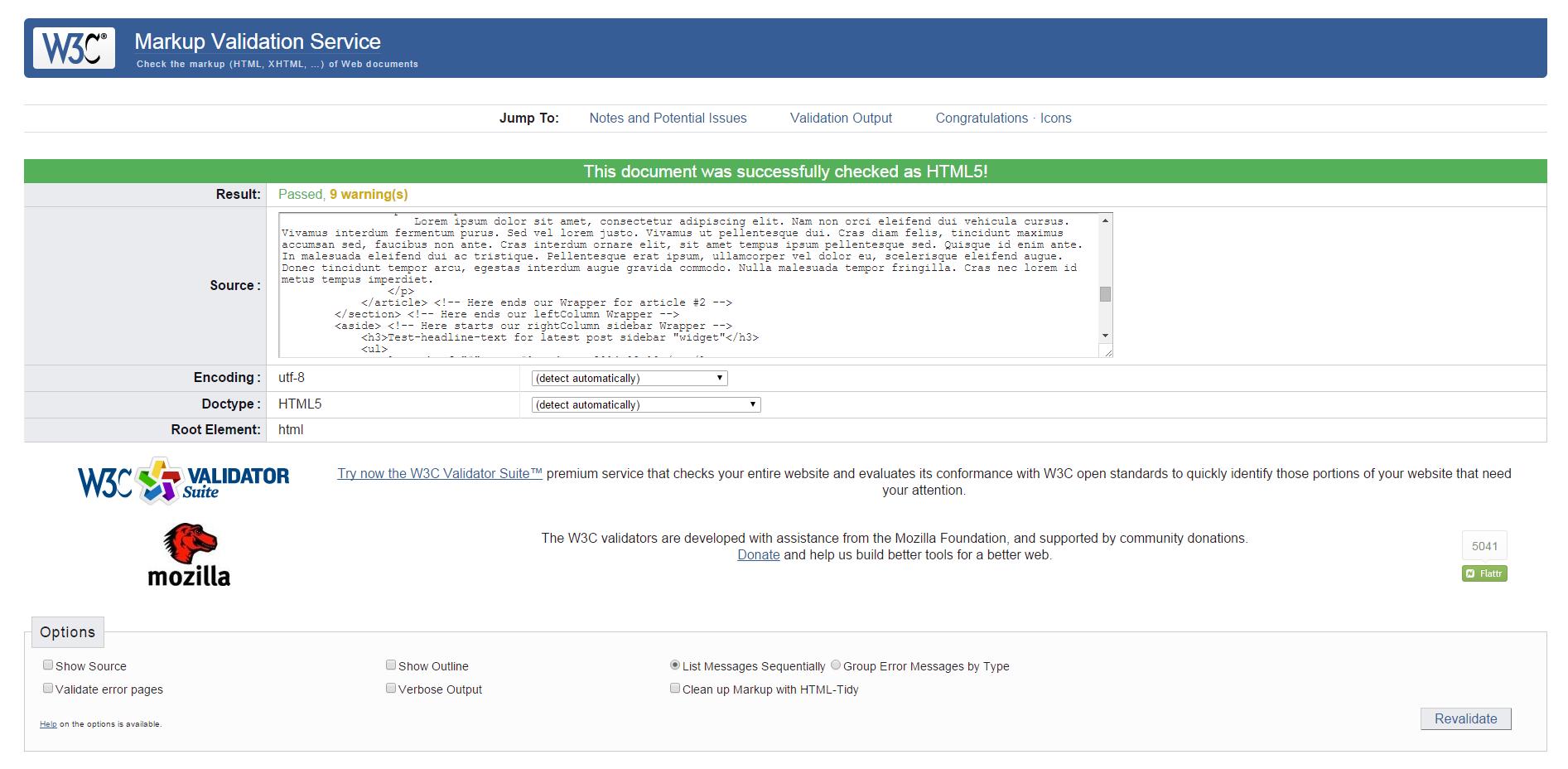 W3C HTML5 Validation av webbsida strukturs kod