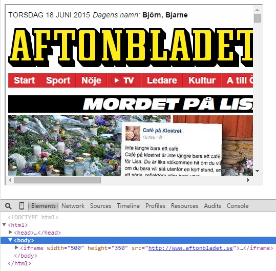 Exempel på iFrame som laddar in aftonbladet.se på 500x350 yta på webbsida.