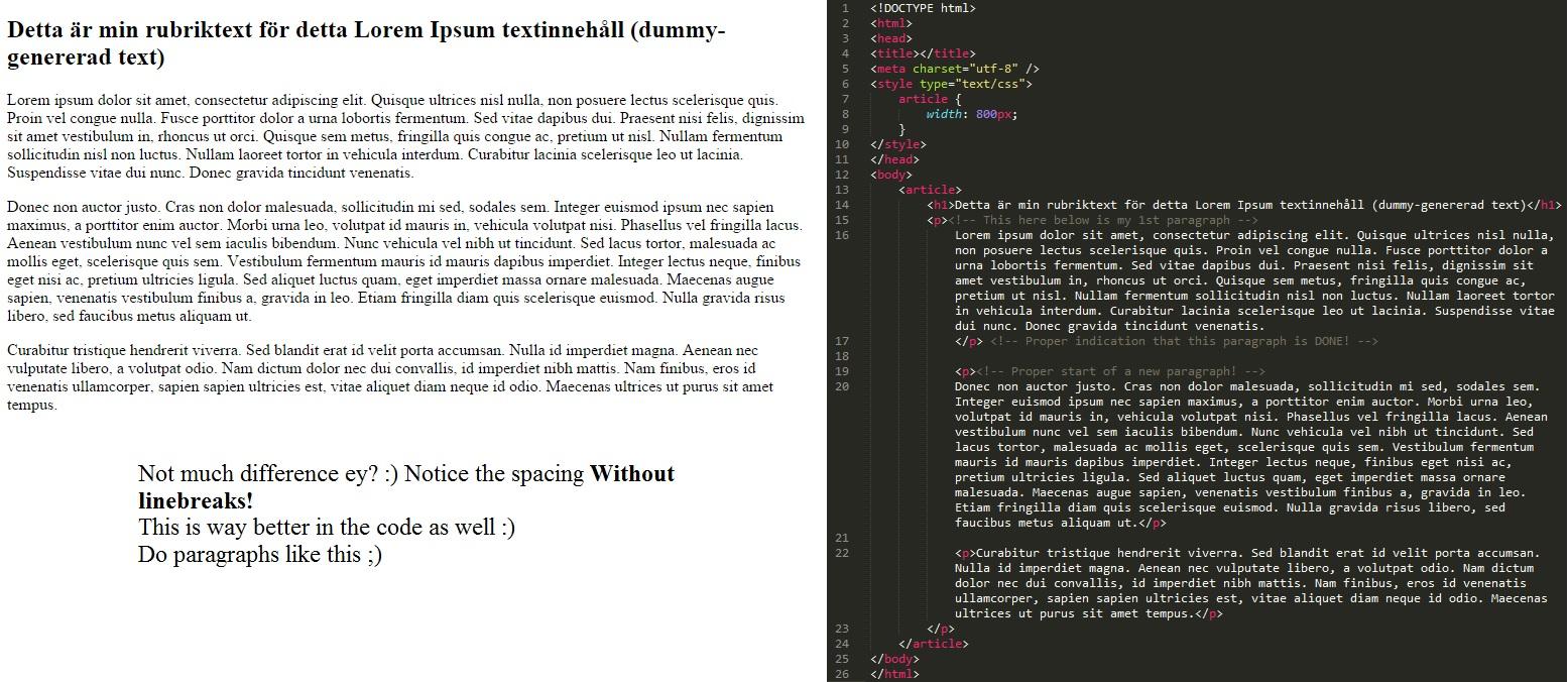 Ordentlig representation av paragrafer via HTML koden!