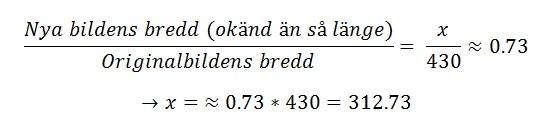 uträkning för bredd-förhållandet via algebraisk ekvationslösning