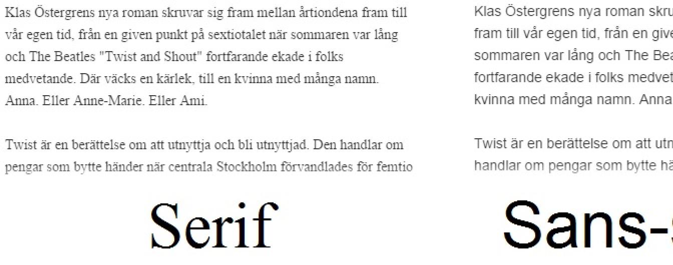 serif font vs sans-serif font demonstrerad för webb på adlibris boktext underlag