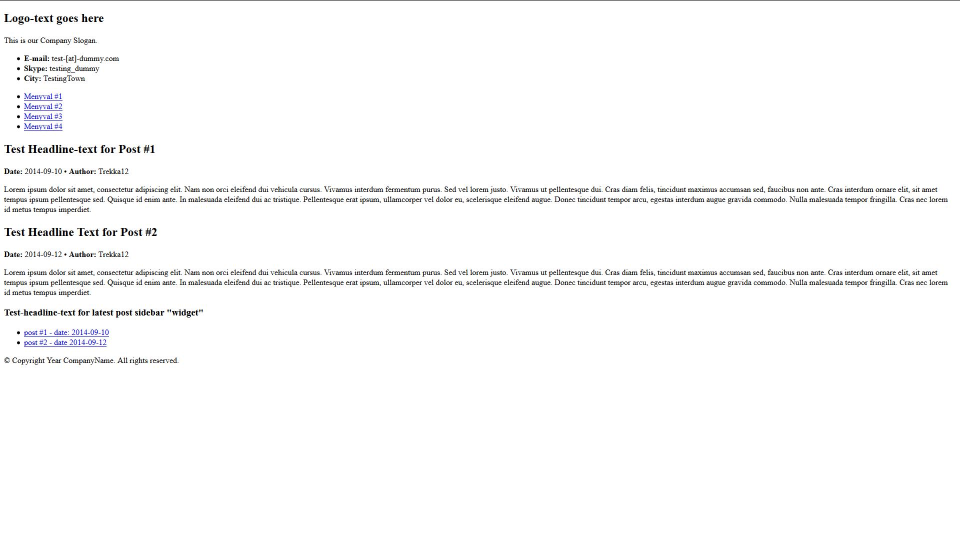 Första webbsidan förhandsgranskning utan några som helst CSS-stilar