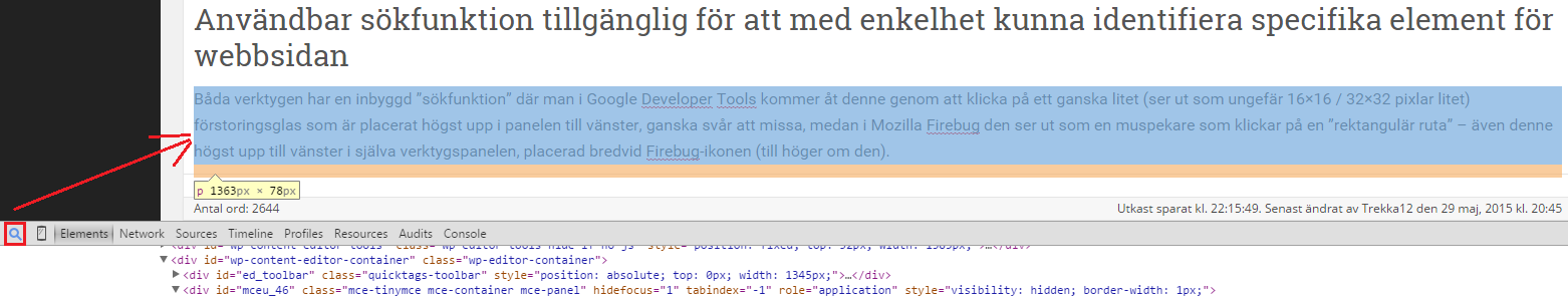 Demonstration av Google Developer tools sökfunktion