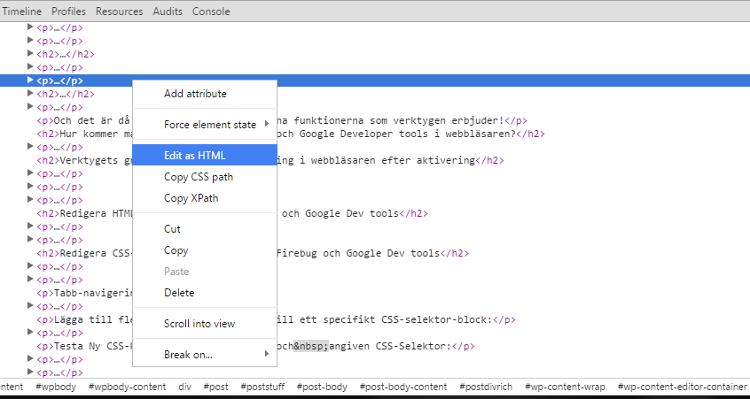 Redigera HTML-kod via t ex. Google Dev tools