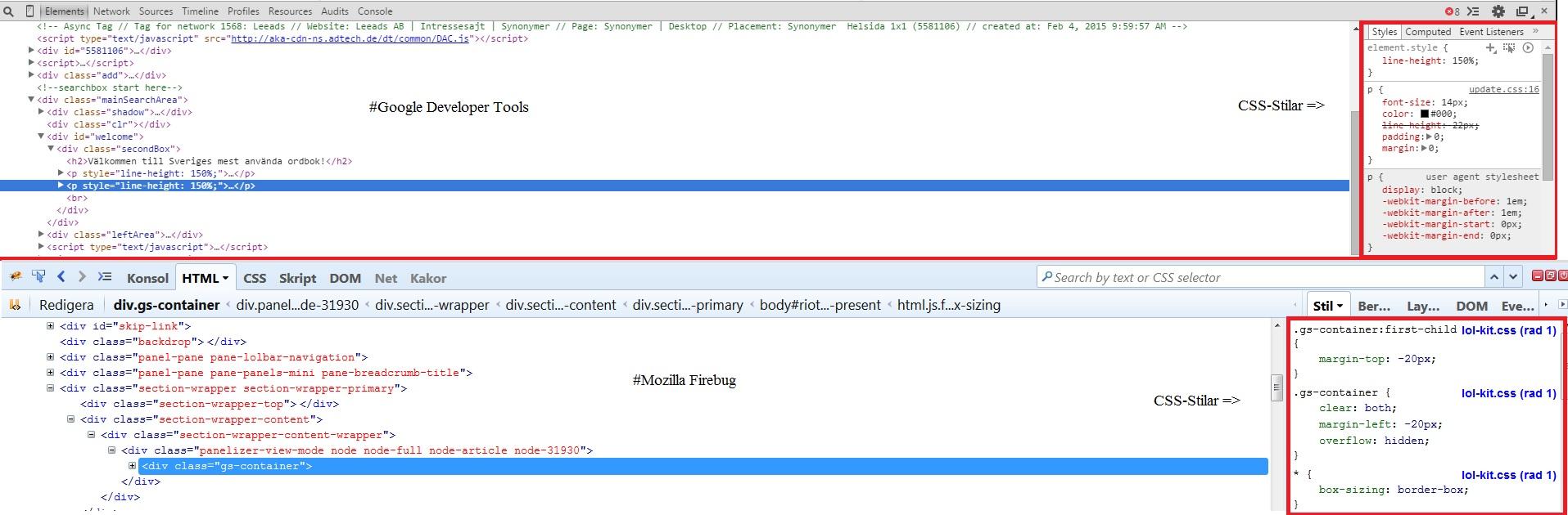 Printscreen där CSS-stilarna visas i både Mozilla firebug såväl som Google Dev tools