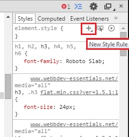 Lägga till en ny CSS-regel för sidan via Google Developer tools