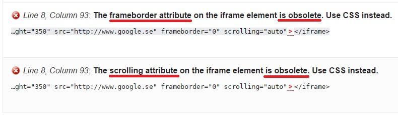 frameborder och scrolling attribut = no-go enligt HTML5 validering.