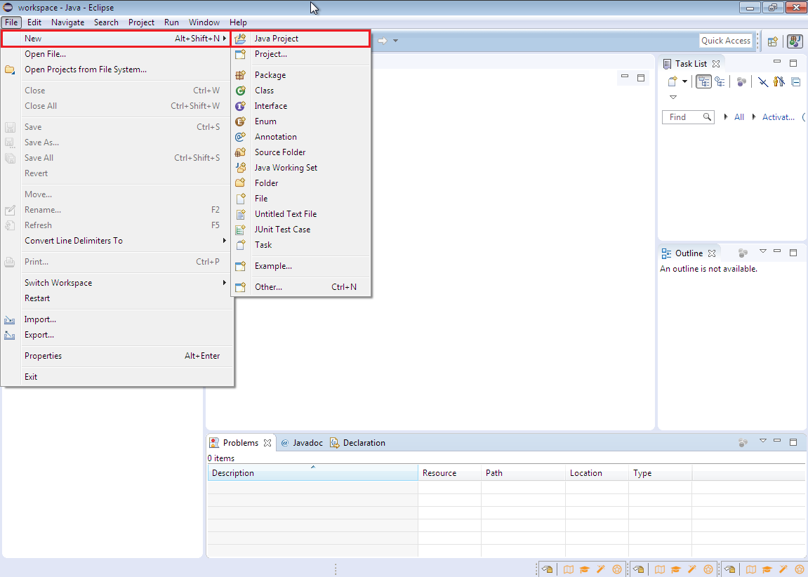 Creating new Java project in Eclipse
