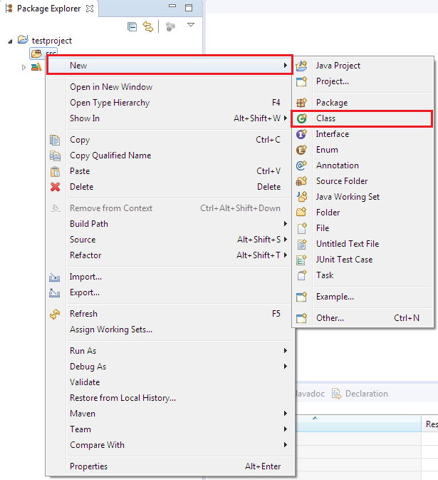 Creating new class to work with in your newly created Java project